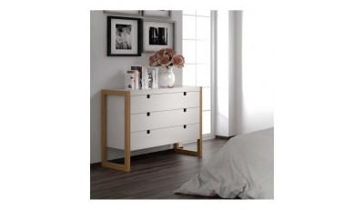 Cómodas y Sinfonier con cajones para almacenaje para el dormitorio de estilo nórdico con pata, industrial, moderno y madera combinado con metal