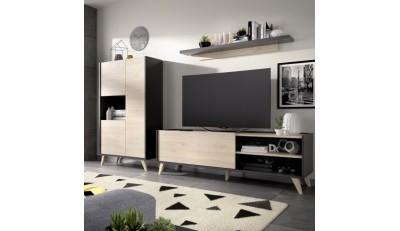 Composiciones modulares modernas, modulares nórdicos, contemporáneas, blanco y madera natural