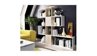 Estanterías y librerías para completar la estancia y crear un espacio decorativo y de lectura.